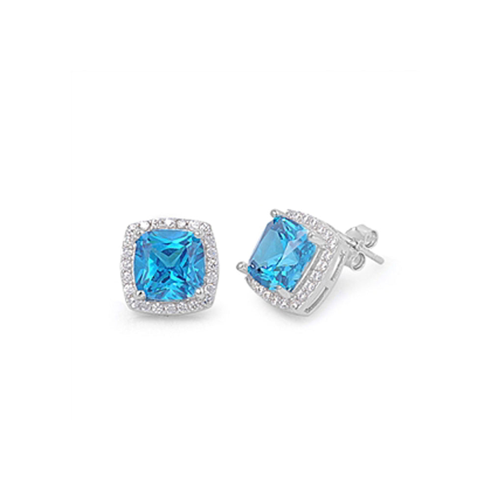 .925 Sterling Silver Cushion December Birthstone Cubic Zirconia Halo Inspired Stud Earrings