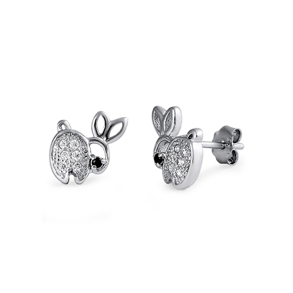 .925 Sterling Silver Bunny Cubic Zirconia Accent Stud Earrings