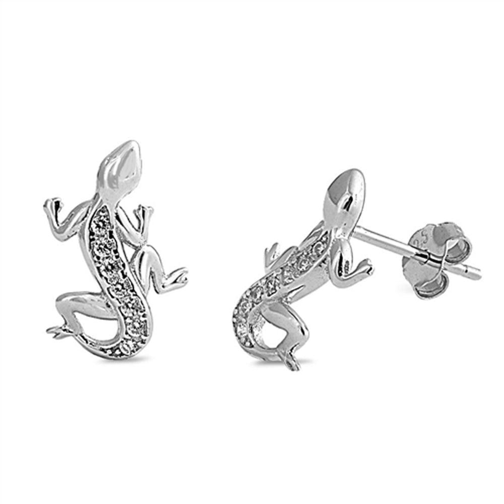 .925 Sterling Silver Climbing Lizard Cubic Zirconia Stud Earrings