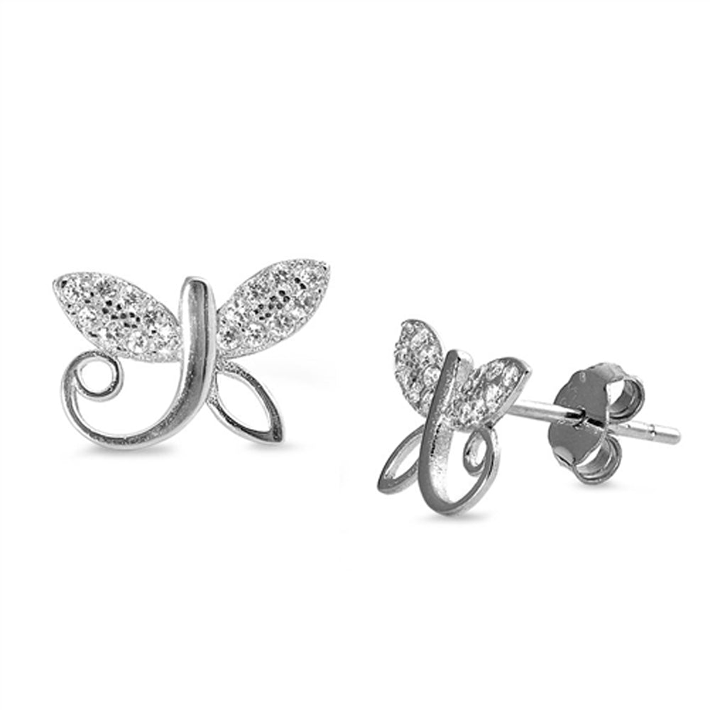 .925 Sterling Silver Dragonfly Cubic Zirconia Stud Earrings