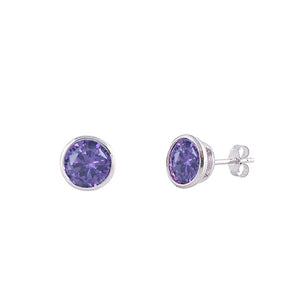 .925 Sterling Silver Bezel February Birthstone Cz Stud Earrings