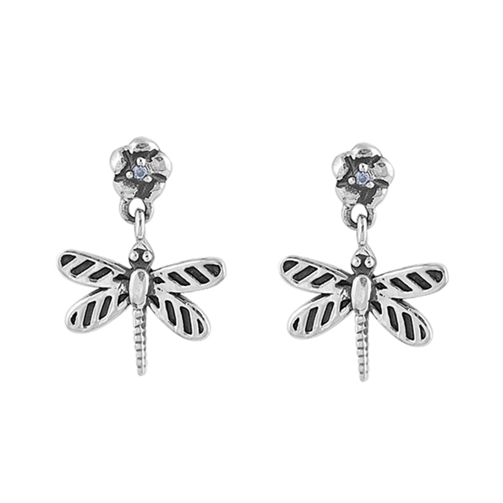 .925 Sterling Silver Antique Finish Dragonfly Cubic Zirconia Earrings