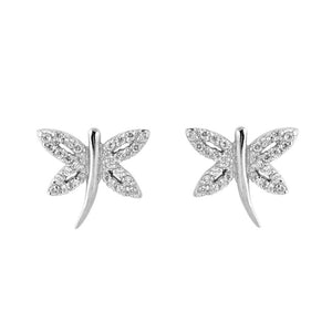 .925 Sterling Silver Cubic Zirconia Dragonfly Stud Earrings