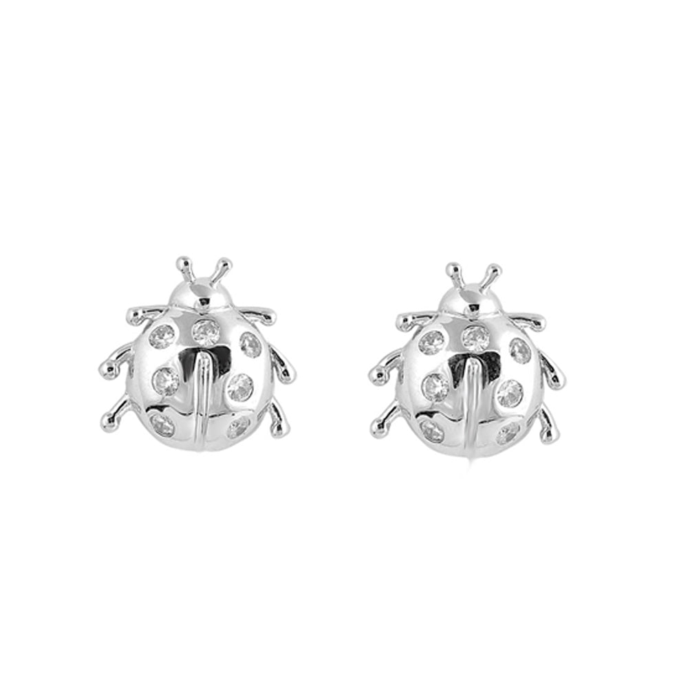 .925 Sterling Silver Cubic Zirconia Ladybug Stud Earrings