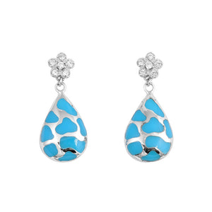 .925 Sterling Silver Blue Inlay Drop Dangle Earrings