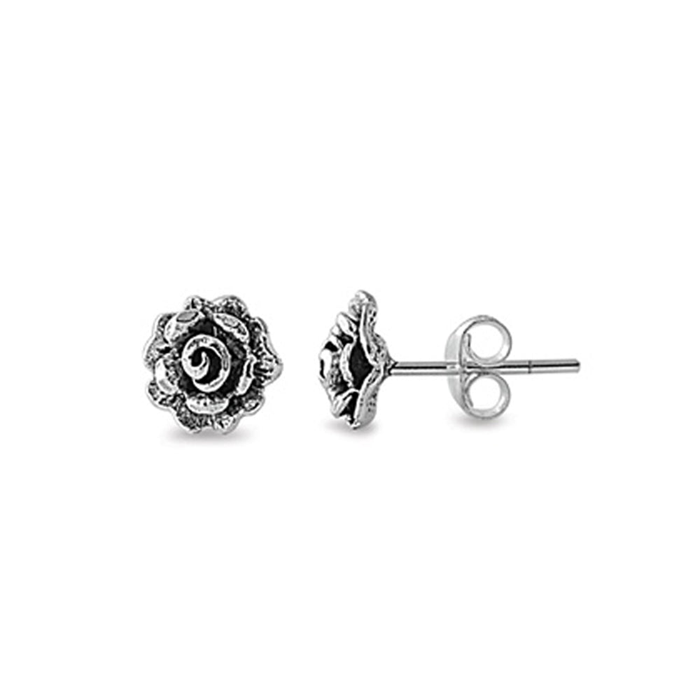 .925 Sterling Silver Antique Rose Bud Stud Earrings for Kids