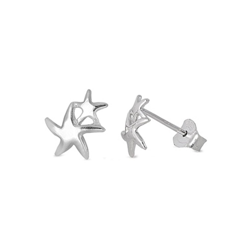 .925 Sterling Silver Double Stars Stud Earrings