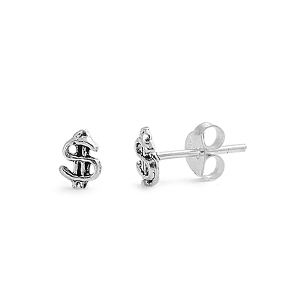 .925 Sterling Silver Dollar Symbol Stud Earrings