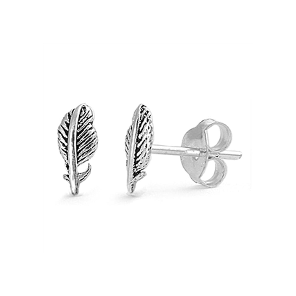 .925 Sterling Silver Detailed Feather Stud Earrings