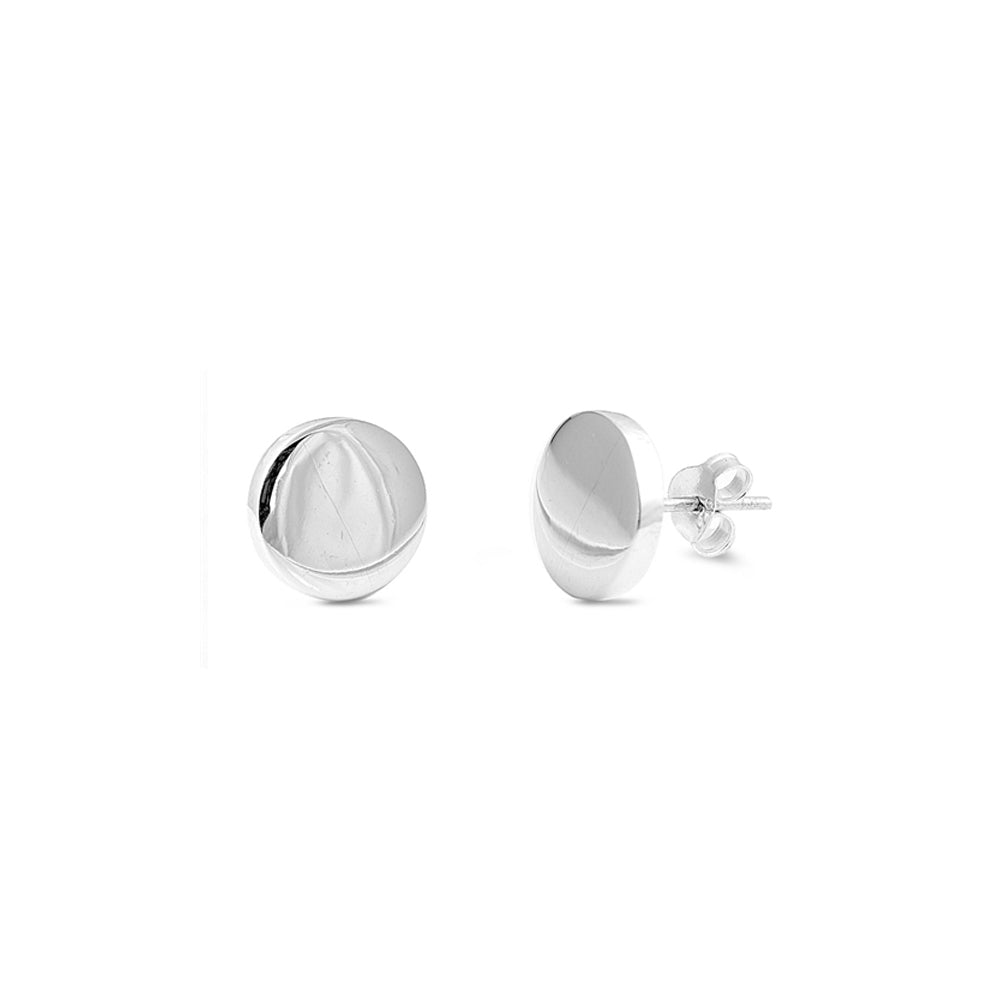 .925 Sterling Silver 10mm Round Stud Earrings