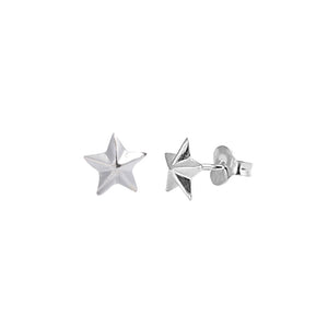 .925 Sterling Silver Beveled Small Star Stud Earrings for Kids