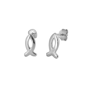 .925 Sterling Silver Christian Fish Ichtus Stud Earrings