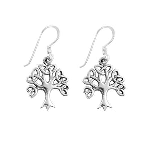 .925 Sterling Silver Celtic Knot Tree of Life Dangle Earrings