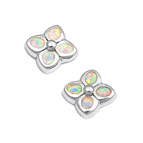 .925 Sterling Silver Lab Created Opal Floral Stud Earrings