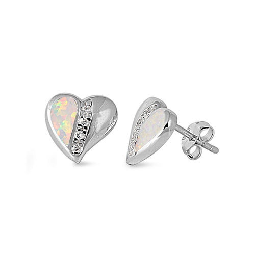 .925 Sterling Silver Semi Lab Created Opal Heart Stud Earrings