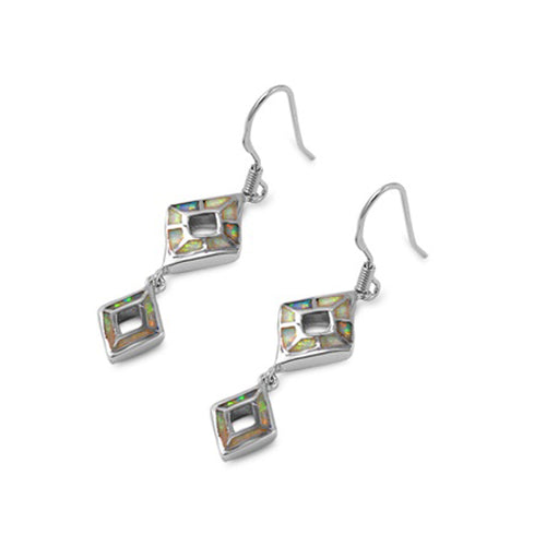 .925 Sterling Silver Lab Created Opal Diamond-shape Statement Dangle Earrings