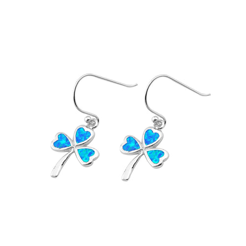 .925 Sterling Silver Lab Created Blue Opal Clover Leaf Dangle Earrings