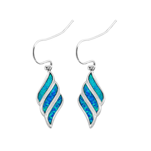 .925 Sterling Silver Shell Inspired Lab Created Blue Opal Dangle Earrings