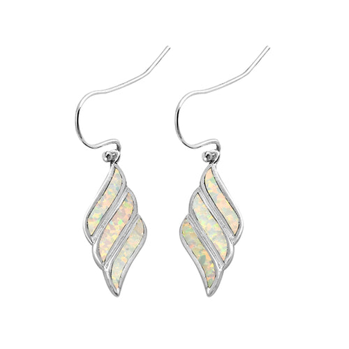 .925 Sterling Silver Shell Inspired Lab Created Opal Dangle Earrings