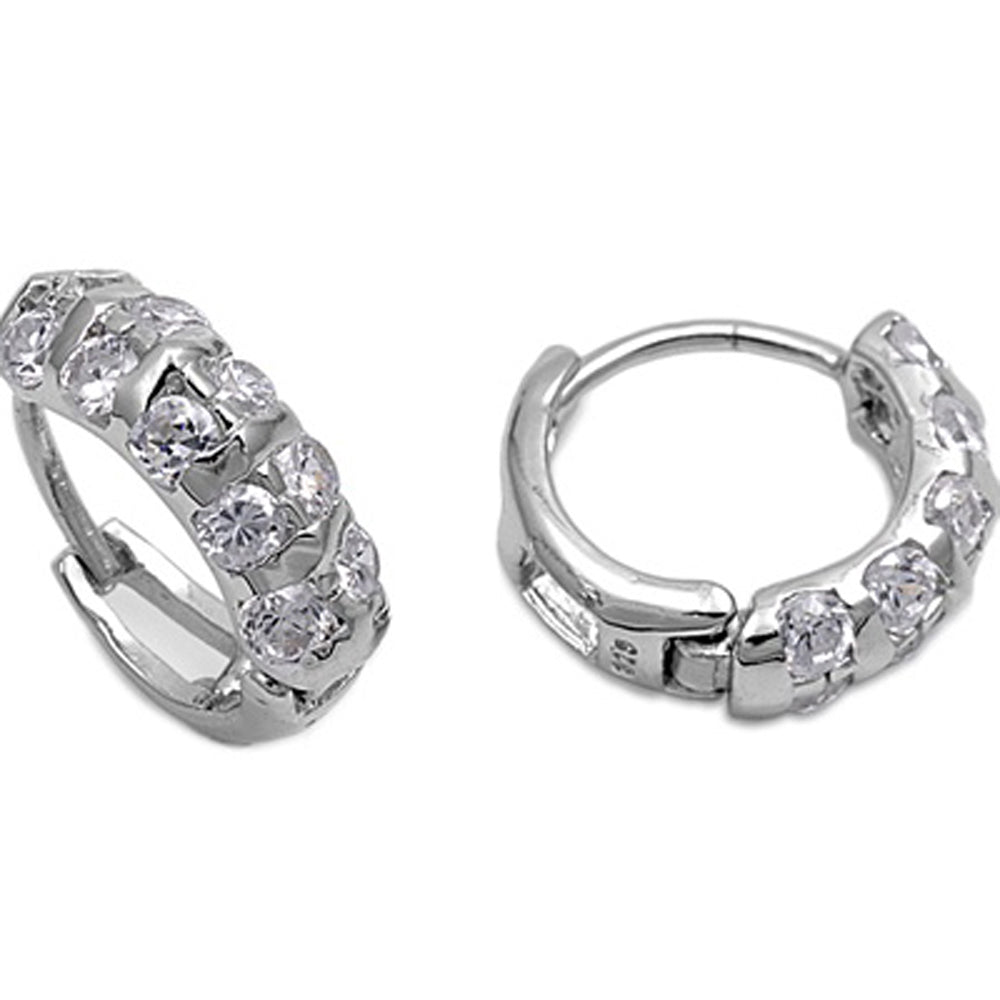.925 Sterling Silver Double Row Cubic Zirconia Dome Huggie Earrings
