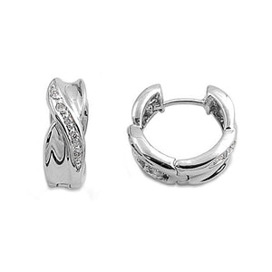 .925 Sterling Silver Crossover Design Huggie Earrings with Cubic Zirconia Accents