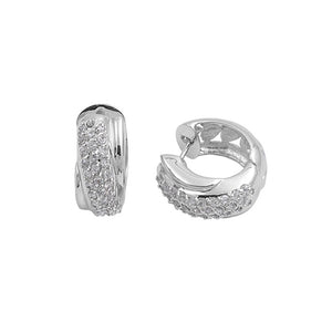 .925 Sterling Silver Cubic Zirconia Crossover Design Huggie Earrings