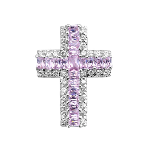 .925 Sterling Silver Baguette October Birthstone Cubic Zirconia Cross Pendant