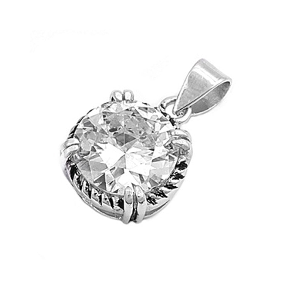 .925 Sterling Silver Braided Edge Round Cut Cubic Zirconia Charm Pendant