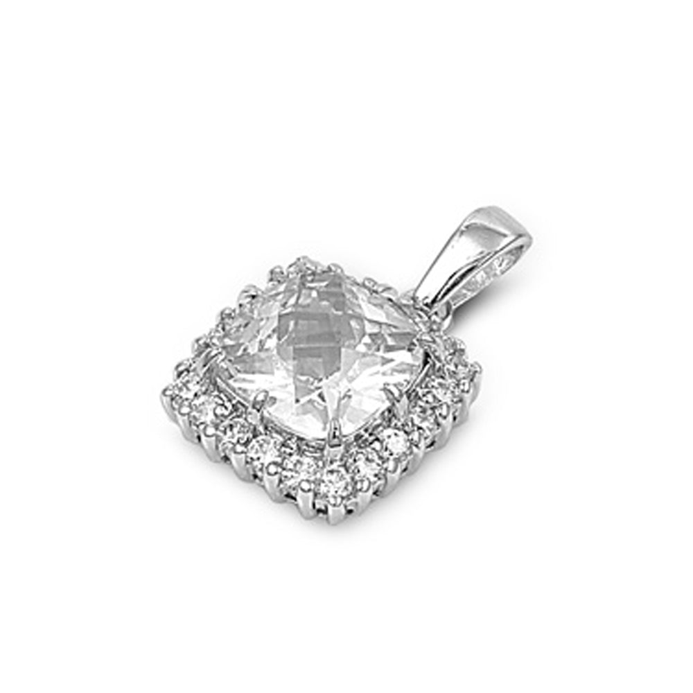 .925 Sterling Silver Cushion Cubic Zirconia Charm Pendant