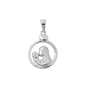 .925 Sterling Silver Mom and Baby Cz Circle Charm Pendant