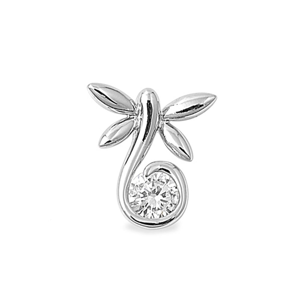 .925 Sterling Silver Dragonfly with Round Cut Cubic Zirconia Charm Pendant