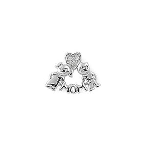 .925 Sterling Silver Mom with Kids Cubic Zirconia Charm Pendant