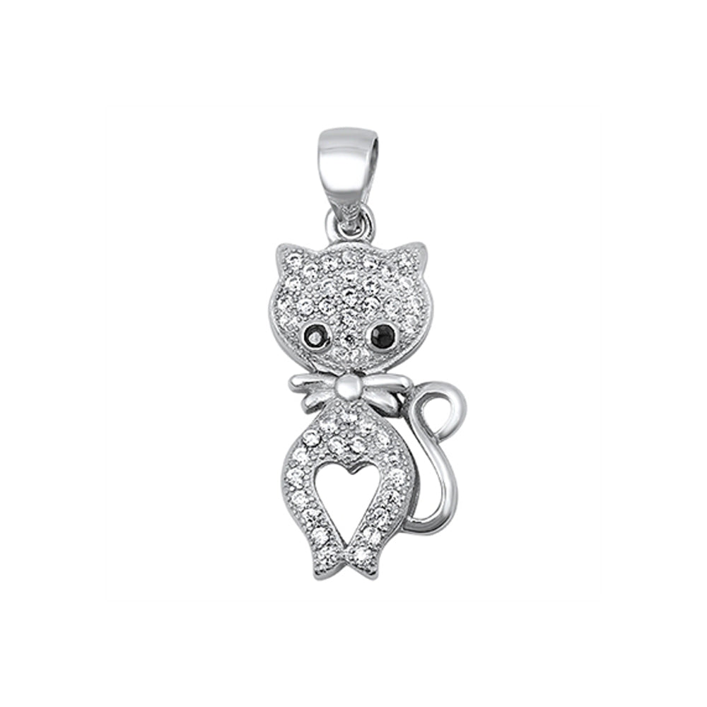 .925 Sterling Silver Whimsical Cubic Zirconia Cat Charm Pendant