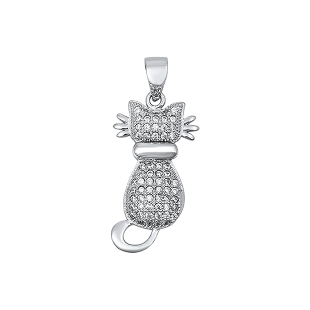 .925 Sterling Silver Cubic Zirconia Cat Charm Pendant