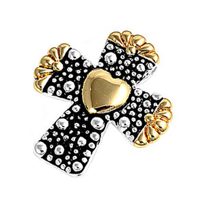 .925 Sterling Silver Gold Tone Cross with Heart Pendant