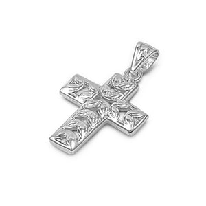 .925 Sterling Silver Leaves Design Cross Pendant