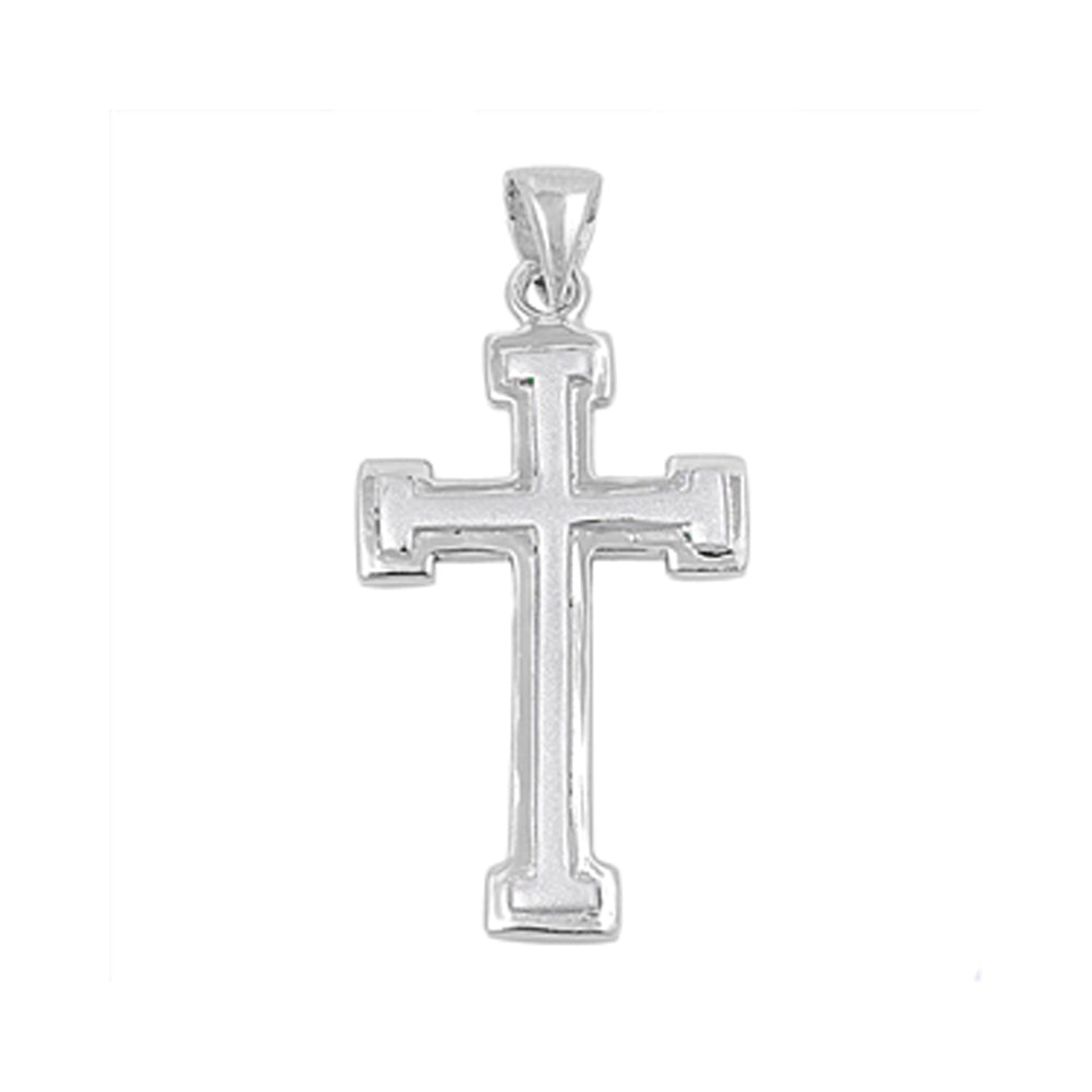 .925 Sterling Silver Intersection Cross Pendant Polish Finish