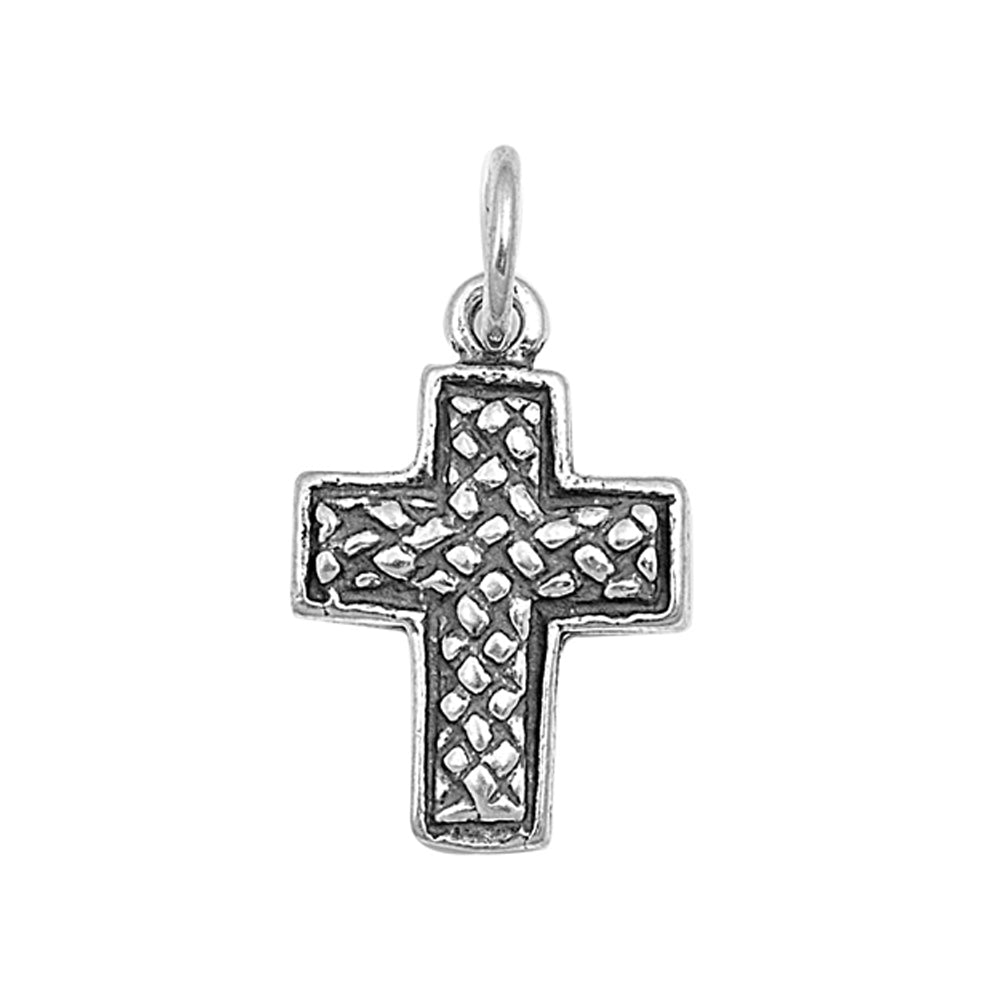 .925 Sterling Silver Brick Texture Cross Pendant