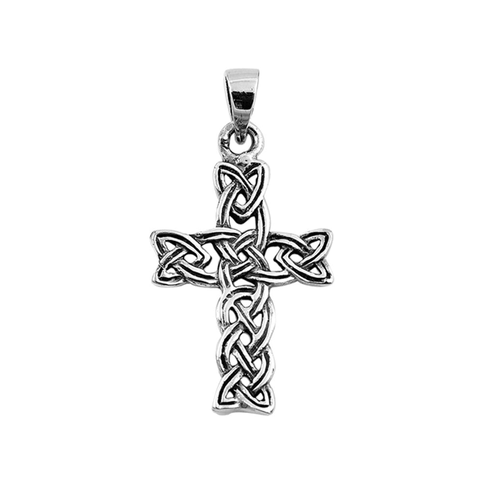 .925 Sterling Silver Interwoven Celtic Trinity Cross Pendant