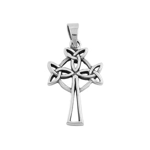 .925 Sterling Silver Celtic Trinity High Cross Pendant