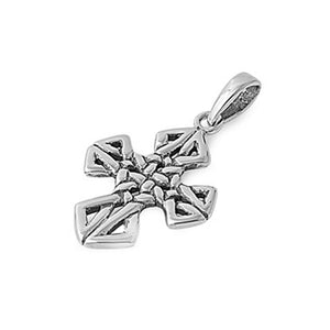 .925 Sterling Silver Intricate Design Cross Pendant