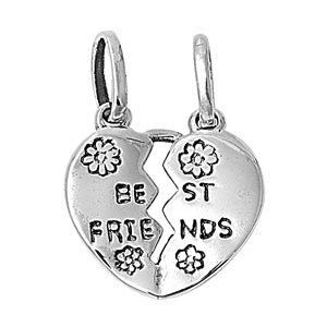 .925 Sterling Silver Best Friends Heart Charm Pendant