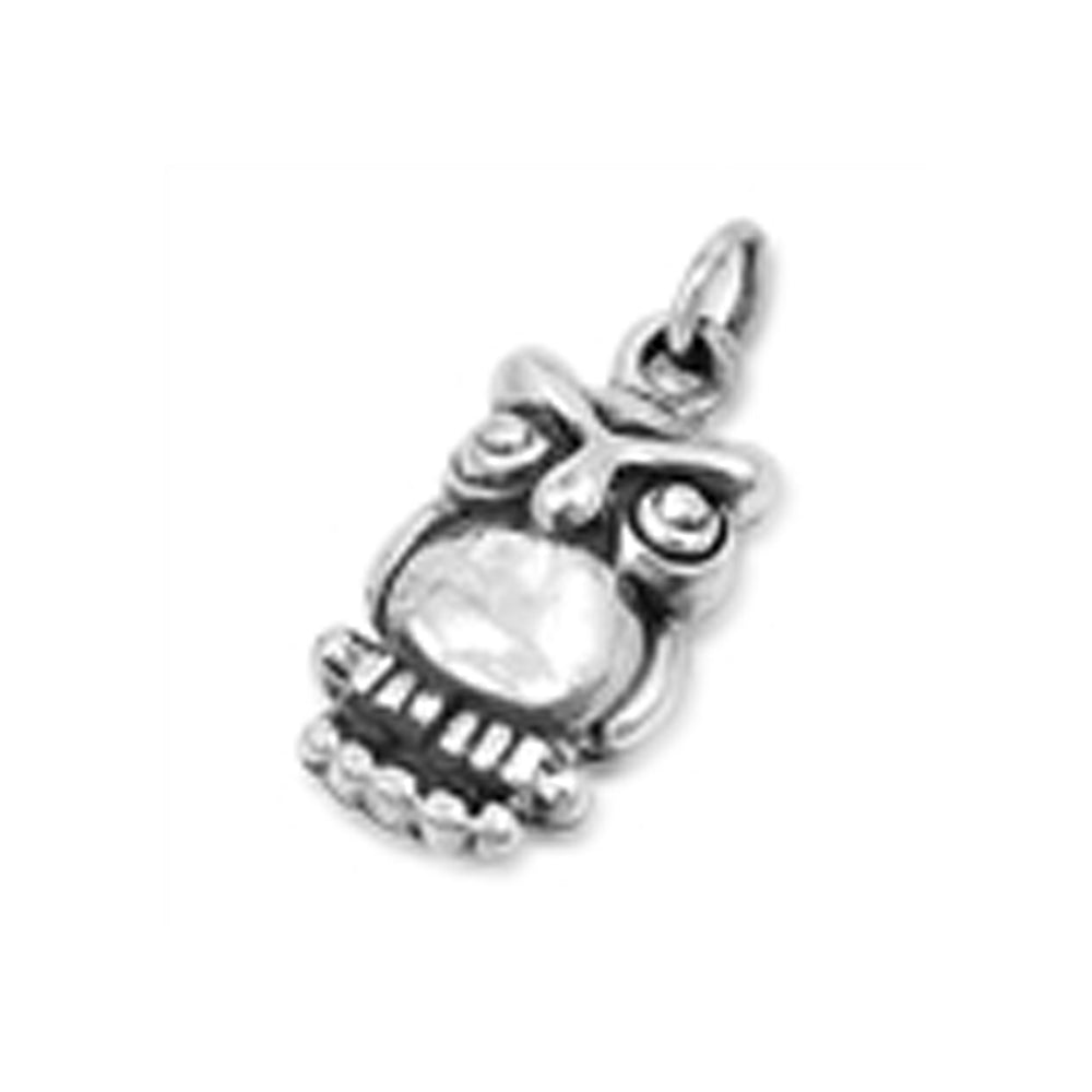 .925 Sterling Silver Antique Owl Charm Pendant