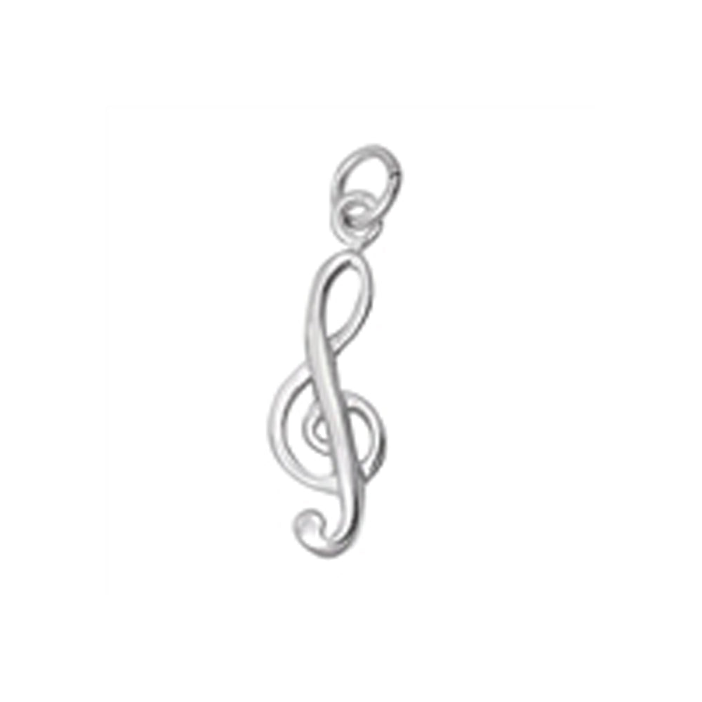 .925 Sterling Silver G-Clef Music Note Charm Pendant