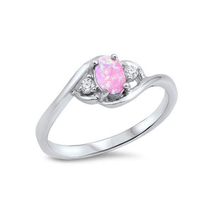 .925 Sterling Silver Oval Lab Created Pink Opal Cubic Zirconia Twisted Ring