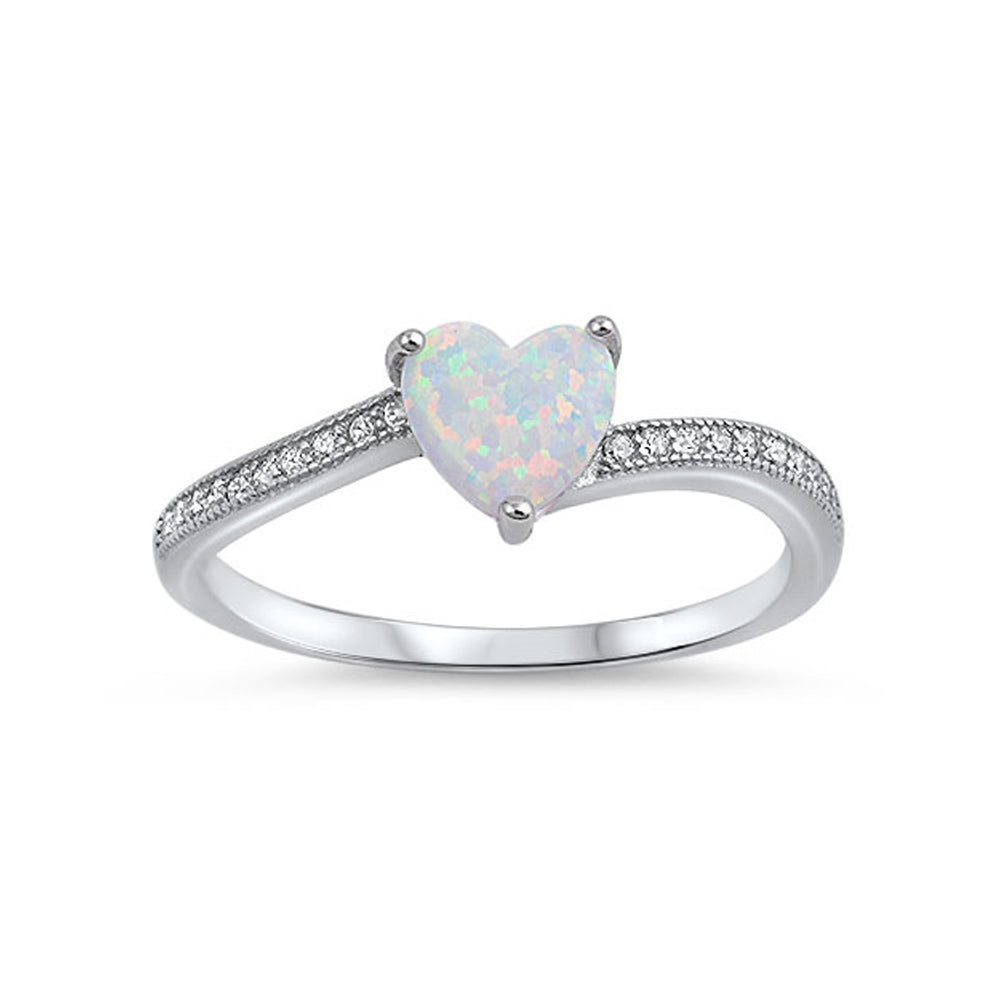 .925 Sterling Silver Heart Lab Created Opal CZ Engagement Ring