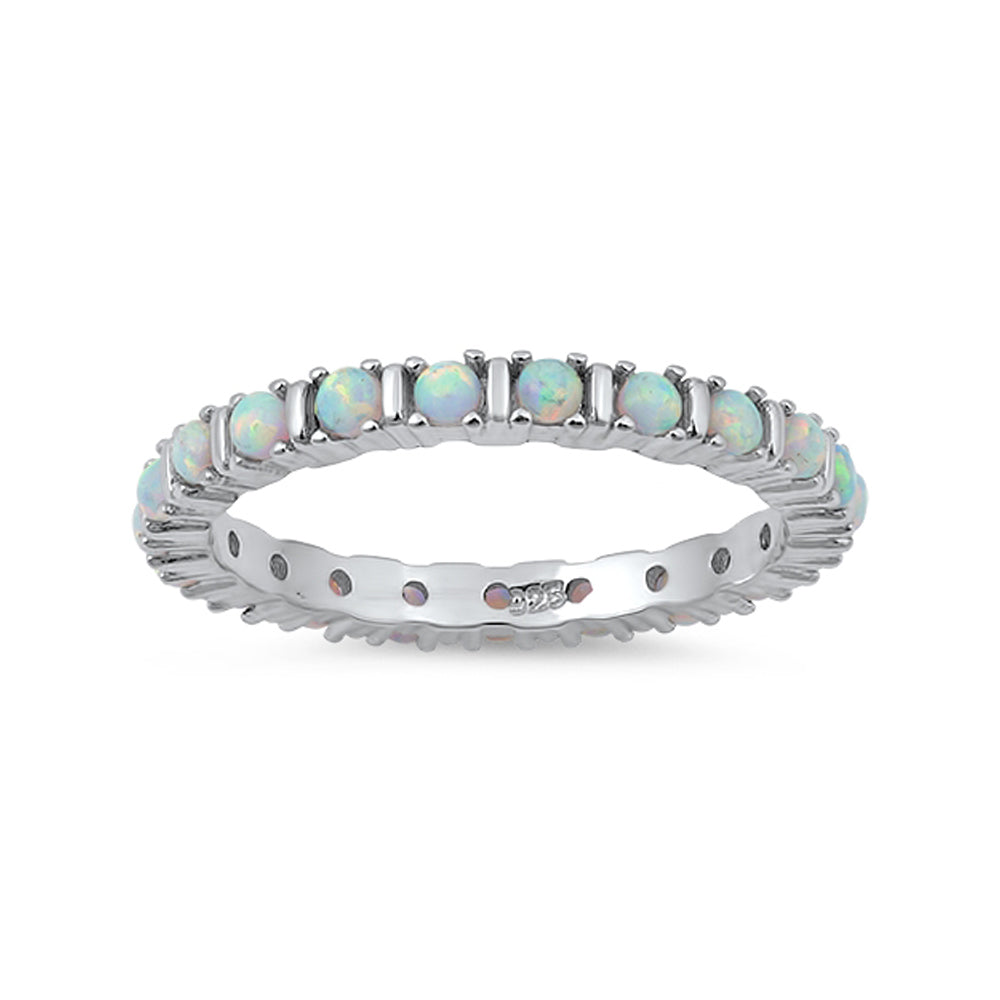 .925 Sterling Silver Bar Setting Lab Created Opal Stackable Ring