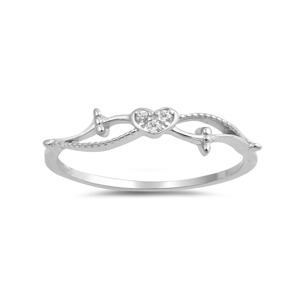 .925 Sterling Silver Cubic Zirconia Heart Petite Stackable Ring