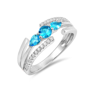 .925 Sterling Silver December Birthstone Cubic Zirconia Open Design Ring