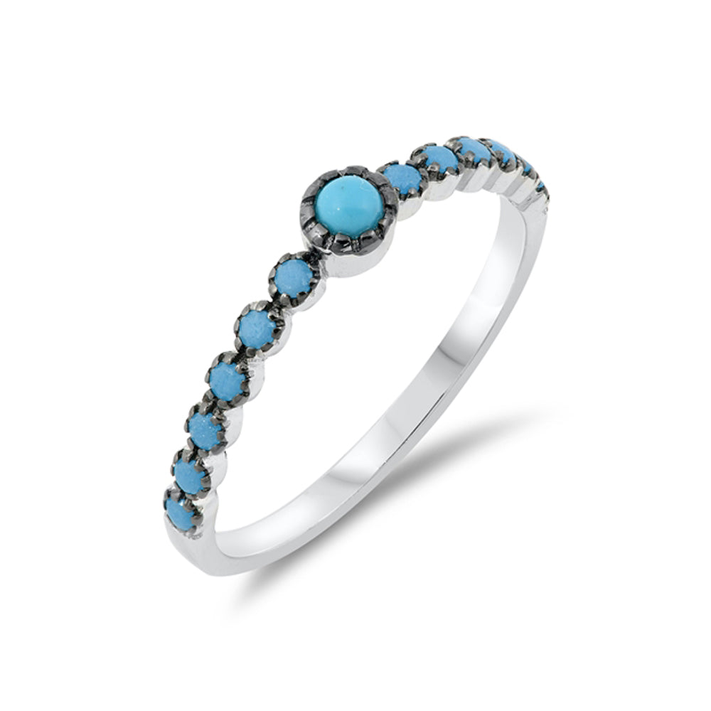 .925 Sterling Silver Simulated Turquoise Beaded Stackable Ring